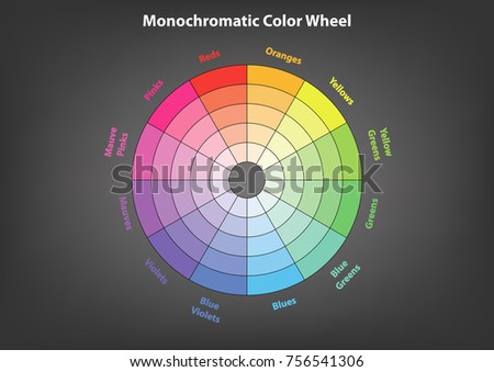 Monochromatic Color Wheel Color Scheme Theory Stock Vector Royalty