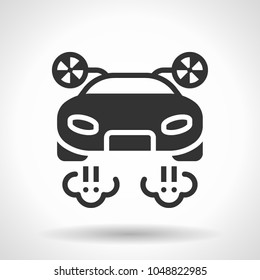 Monochromatic flying car icon with hovering effect shadow on grey gradient background. EPS 10
