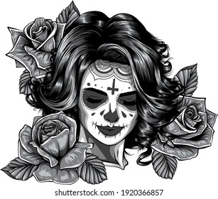 monochromatic Girl with skeleton make up hand drawn vector sketch. Santa muerte woman witch portrait stock