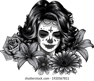 Monochromatic Girl with skeleton make up. Hand drawn vector sketch. Santa muerte woman, witch portrait stock illustration