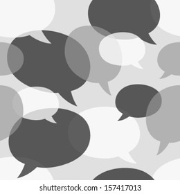 monochromatic grey speech bubbles seamless pattern