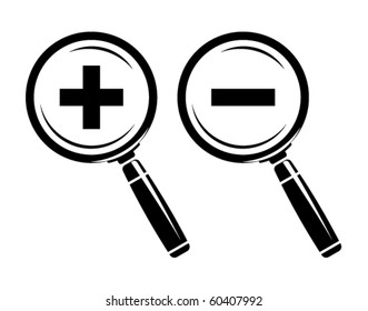 Monochromatic increase-decrease magnifiers icons