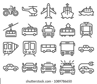 Monochromatic line icons set of some transport facilities