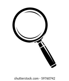 Monochromatic magnifying glass icon. Isolated on white
