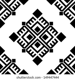 Monochromatic seamless ethnic pattern background. Vector file editable, scalable and easy color change. Can use it for packaging, textile design and scrapbooking