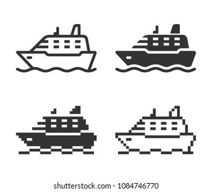 Monochromatic ship icon in different variants: line, solid, pixel, etc.