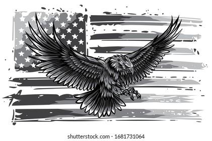 monochromatic vector illustation American eagle against USA flag and white background.