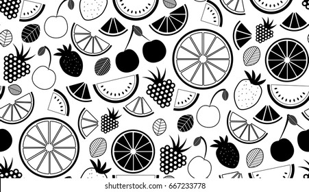 Monochromatic vector summer seamless pattern with fruits illustration isolated on white background
