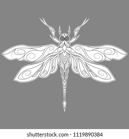 Monochrome abstract dragonfly on gray background. Can be used for t-shirt print, fashion print design, kids wear, baby shower, greeting and postcard. Vector illustration, EPS 10.