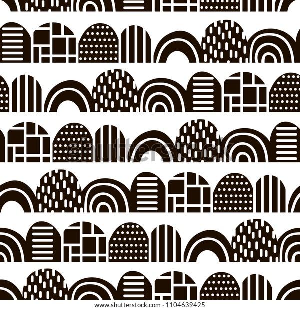 Monochrome Abstract Pattern Scandinavian Style Vector Stock