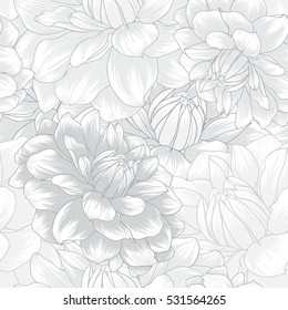 Monochrome abstract seamless hand drawn floral pattern with dahlias flowers. Vector illustration. Element for design.