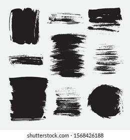 Monochrome abstract vector grunge textures. Set of hand drawn paint brush strokes and stains.