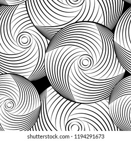Monochrome Abstract Vector Seamless Pattern. Geometric curve elements.