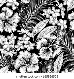 Monochrome Aloha Hawaiian Shirt Seamless Background Pattern. Tropical flowers and leaf, Palm, gibiscus, plumeria. Black and white.