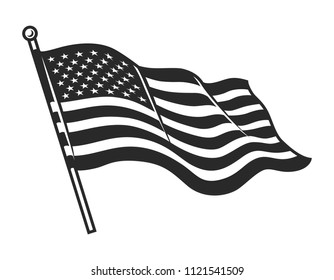 Monochrome American flag template for USA Independence Day in vintage style isolated vector illustration