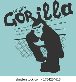 monochrome angry gorilla - cool art for print t-shirts or tattoos
