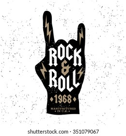 "monochrome antique hipster vintage label , badge, crest ""rock and roll"" for flyer poster logo or t-shirt apparel clothing print with lettering hand and lightning"