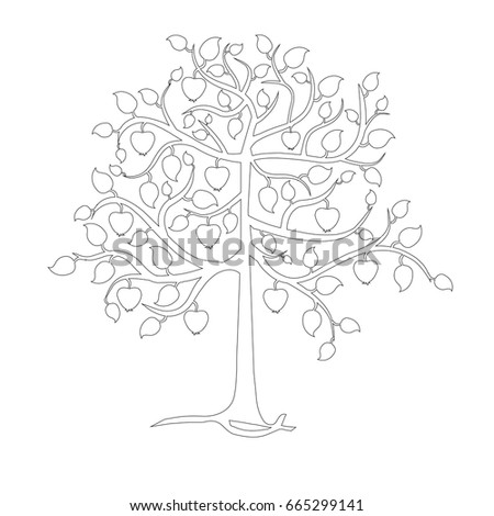 Monochrome Apple Tree Coloring Page Stock Stock Vector Royalty Free
