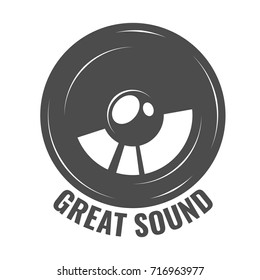 Monochrome art with loudspeaker, black music and sound logo. Car speakers isolated on white background