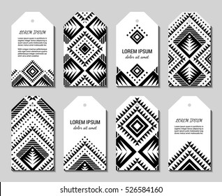 Monochrome Aztec style ornamental simple geometric tag set. American indian ornate pattern design collection. Tribal decorative label templates. Ethnic ornamentation. EPS 10 vector illustration.