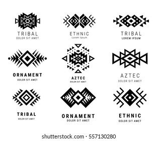Monochrome Aztec style ornamental simple geometric logo set. American indian ornate pattern design collection. Tribal decorative templates. Ethnic ornamentation. EPS 10 vector illustration isolated.