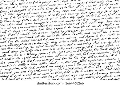 Monochrome background of careless ink writing. Handwritten letter texture. Overlay template. Vector illustration