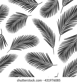 Monochrome background with palm leaves. Seamless pattern for web, print, wallpaper, wrapping, packaging design, scrapbook, spring summer fashion fabric, textile design.