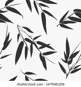 Monochrome bamboo branches seamless background. Vector illustration.