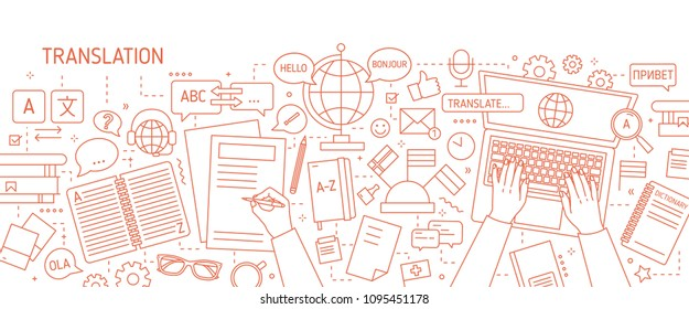 Monochrome banner with hands typing on laptop keyboard and writing on paper drawn with contour lines on white background. Translation of foreign languages. Vector illustration in lineart style