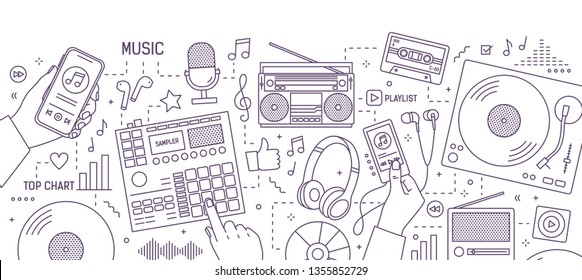 Monochrome banner with hands and various electronic devices for music playing, listening and creation drawn with contour lines on white background. Modern vector illustration in lineart style.