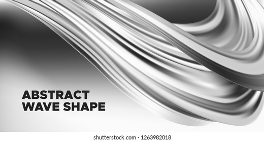 Monochrome Banner, Ink or Brush Stroke. 3d Liquid Shape, Abstract Fluid, Metallic Oil Effect. Monochrome Wallpaper with Wave Shape in Movement. Vector Geometric Placard, Banner, Cover or Landing Page.
