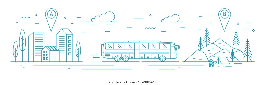 Monochrome banner template with bus riding from departure point towards forest camp at destination point. Touristic transportation, travel transport service. Vector illustration in line art style.