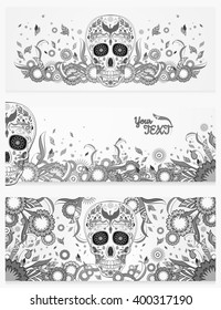 Monochrome banners of Dia de Muertos sugar skull with ornate on an abstract floral spring background. Day of The Dead