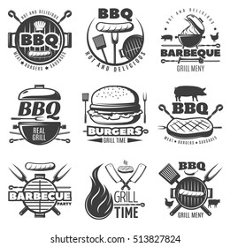 Monochrome barbecue and grill emblems set black on white background with grill stuff and food symbols vector illustration