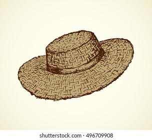 Monochrome beige straw hat isolated on white background. Freehand outline ink hand  drawn object sketchy in art retro engraving style pen on paper. Side closeup view with space for text