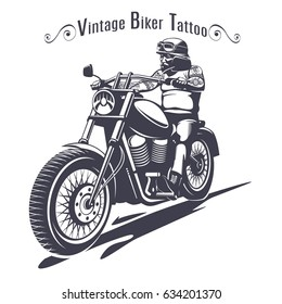Monochrome biker tattoo template with inscription and man riding motorbike in vintage style isolated vector illustration