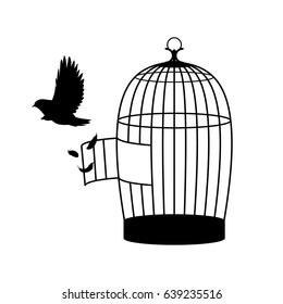 Monochrome bird silhouette concept flying out of open cage on white background isolated vector illustration