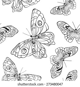 Monochrome, black and white seamless background with butterflies. Elegant elements for design, can be used for wallpaper, decoration for bags and clothes. Hand drawn contour lines and strokes.