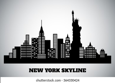 monochrome black-white skyline of a New York, vector illustration