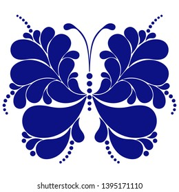Monochrome blue butterfly with paisley in Russian Gzhel style isolated on a transparent background. Vector image. Eps 8
