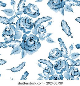 Monochrome blue seamless watercolor flower pattern with roses and feathers, vector illustration