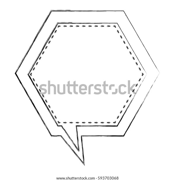 monochrome blurred contour of hexagon frame callout dialogue vector illustration