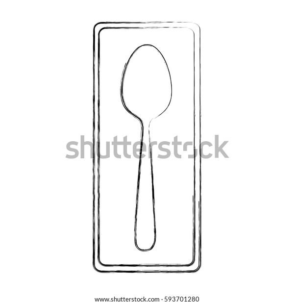 monochrome blurred contour of rectangle frame with silhouette spoon cutlery icon vector illustration