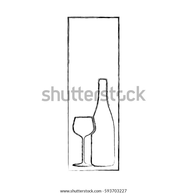 monochrome blurred contour of rectangular frame with glass cup and bottle vector illustration