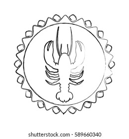 monochrome blurred line contour with lobster in circular emblem vector illustration