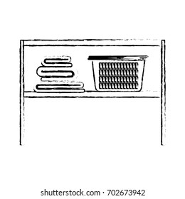monochrome blurred silhouette of ack with folded towels and laundry basket vector illustration