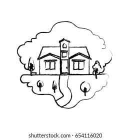 monochrome blurred silhouette scene of natural landscape and facade house with attic vector illustration