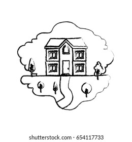 monochrome blurred silhouette scene of natural landscape and facade house of two floors vector illustration