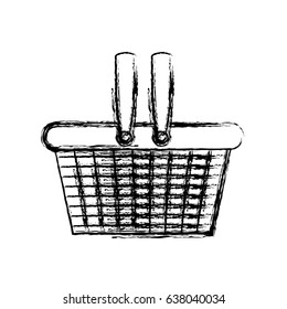 monochrome blurred silhouette of shopping basket vector illustration