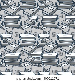 Monochrome book seamless pattern, grey colors